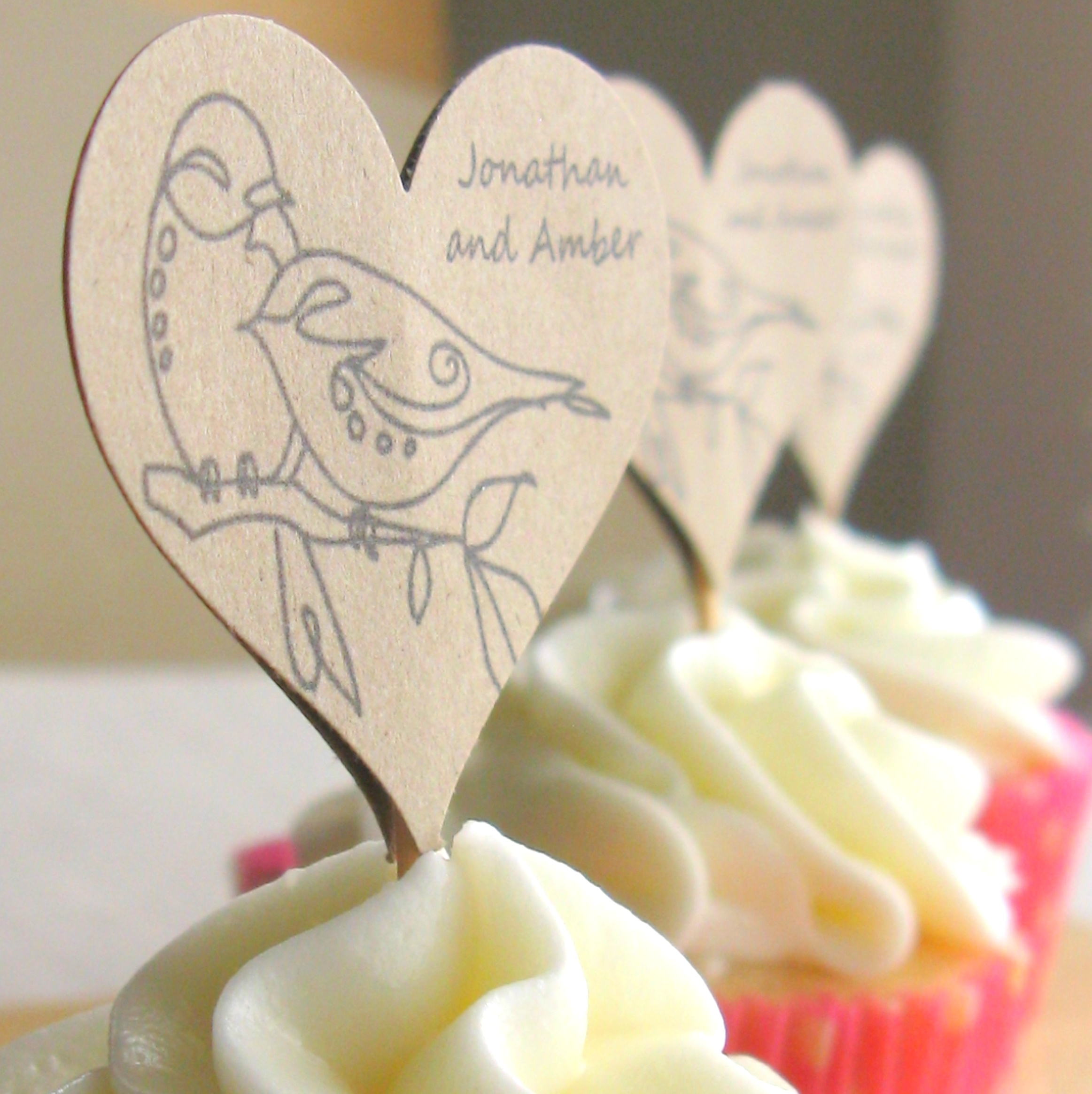Love Bird Cupcake Toppers 100 - Custom Cupcake Toppers, Customized ...
